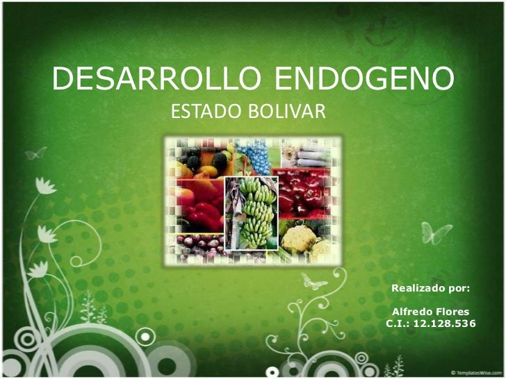 DESARROLLO ENDOGENO     ESTADO BOLIVAR                      Realizado por:                       Alfredo Flores           ...
