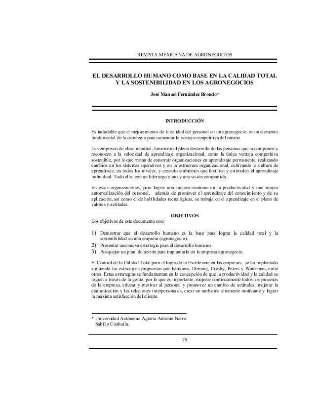 REVISTA MEXICANA DE AGRONEGOCIOS  EL DESARROLLO HUMANO COMO BASE EN LA CALIDAD TOTAL Y LA SOSTENIBILIDAD EN LOS AGRONEGOCI...