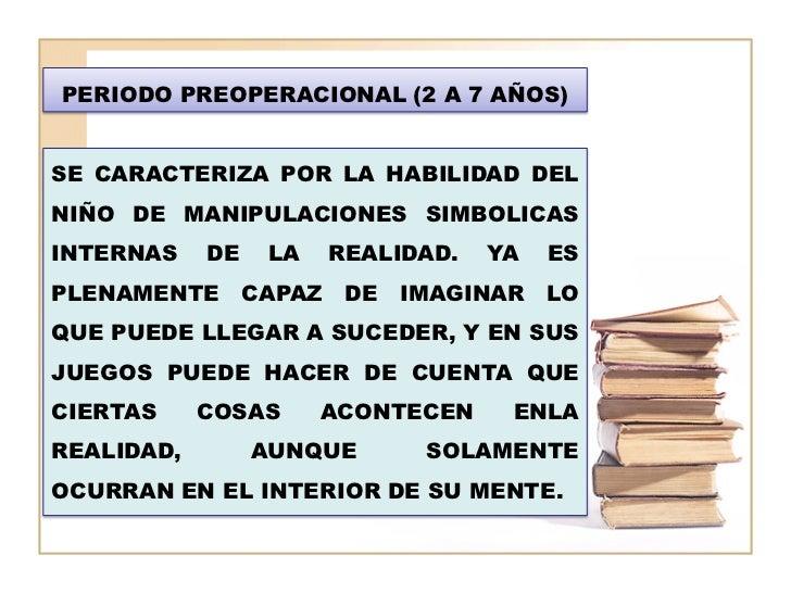PERIODO PREOPERACIONAL (2 A 7 AÑOS)SE CARACTERIZA POR LA HABILIDAD DELNIÑO DE MANIPULACIONES SIMBOLICASINTERNAS    DE   LA...