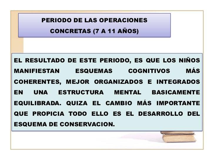 PERIODO DE LAS OPERACIONES           CONCRETAS (7 A 11 AÑOS)EL RESULTADO DE ESTE PERIODO, ES QUE LOS NIÑOSMANIFIESTAN     ...