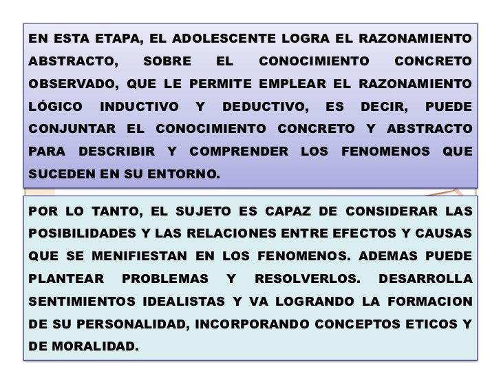 EN ESTA ETAPA, EL ADOLESCENTE LOGRA EL RAZONAMIENTOABSTRACTO,      SOBRE       EL   CONOCIMIENTO       CONCRETOOBSERVADO, ...