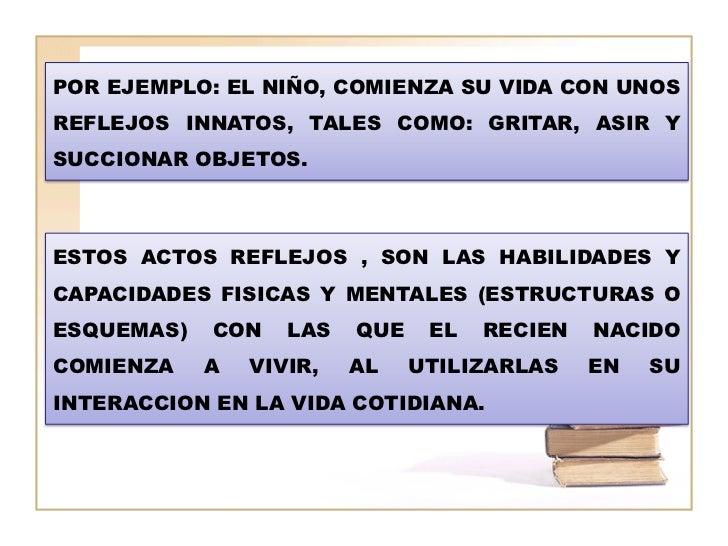 POR EJEMPLO: EL NIÑO, COMIENZA SU VIDA CON UNOSREFLEJOS INNATOS, TALES COMO: GRITAR, ASIR YSUCCIONAR OBJETOS.ESTOS ACTOS R...