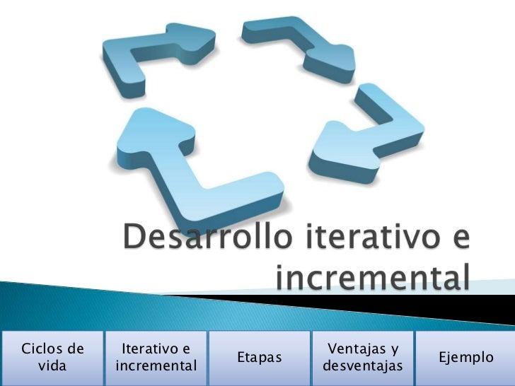 Ciclos de    Iterativo e             Ventajas y                           Etapas                 Ejemplo  vida      increm...