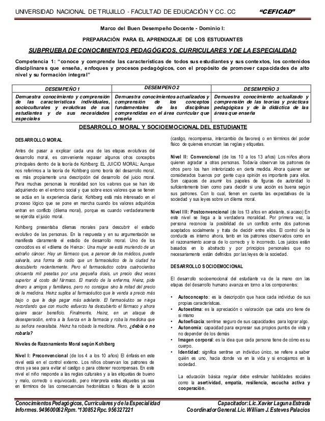 """UNIVERSIDAD NACIONAL DE TRUJILLO - FACULTAD DE EDUCACIÓN Y CC. CC """"CEFICAD"""" ConocimientosPedagógicos,CurricularesydelaEspe..."""