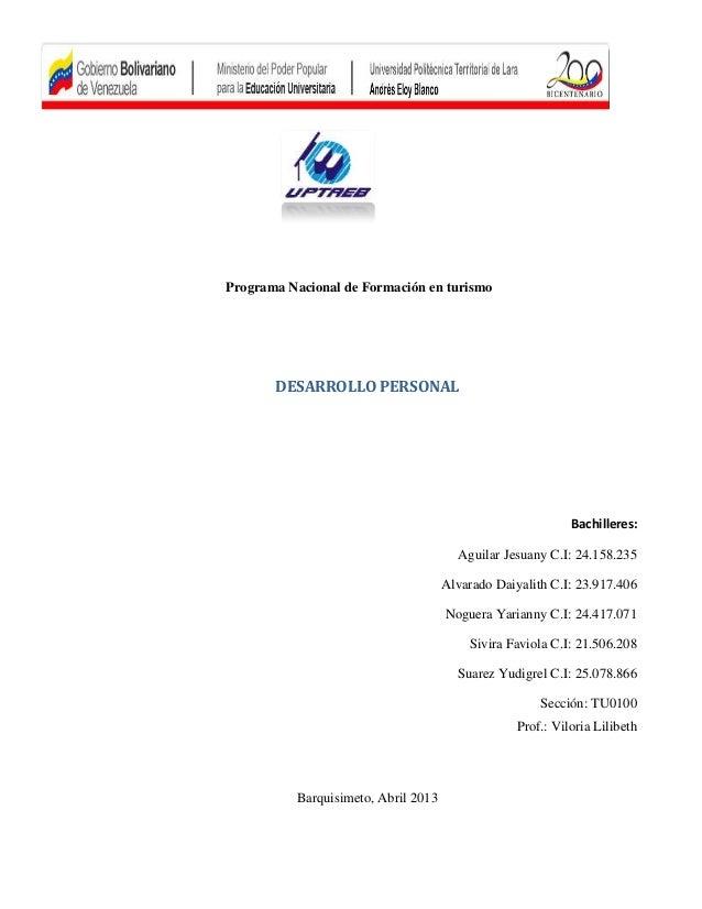 Programa Nacional de Formación en turismo       DESARROLLO PERSONAL                                                       ...