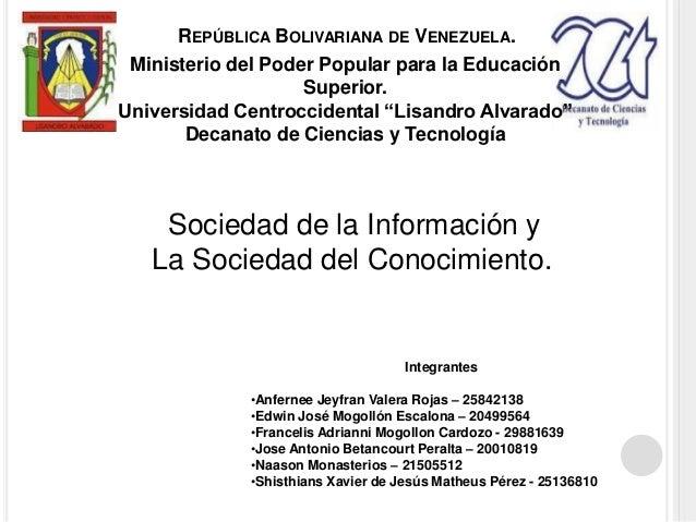 """Ministerio del Poder Popular para la Educación Superior. Universidad Centroccidental """"Lisandro Alvarado"""" Decanato de Cienc..."""
