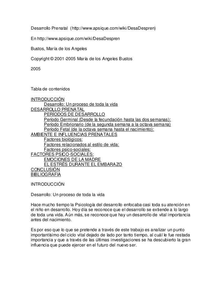 Desarrollo Prenatal (http://www.apsique.com/wiki/DesaDespren)En http://www.apsique.com/wiki/DesaDesprenBustos, María de lo...