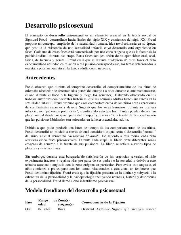 Desarrollo psicosexualEl concepto de desarrollo psicosexual es un elemento esencial en la teoría sexual deSigmund Freud1 d...