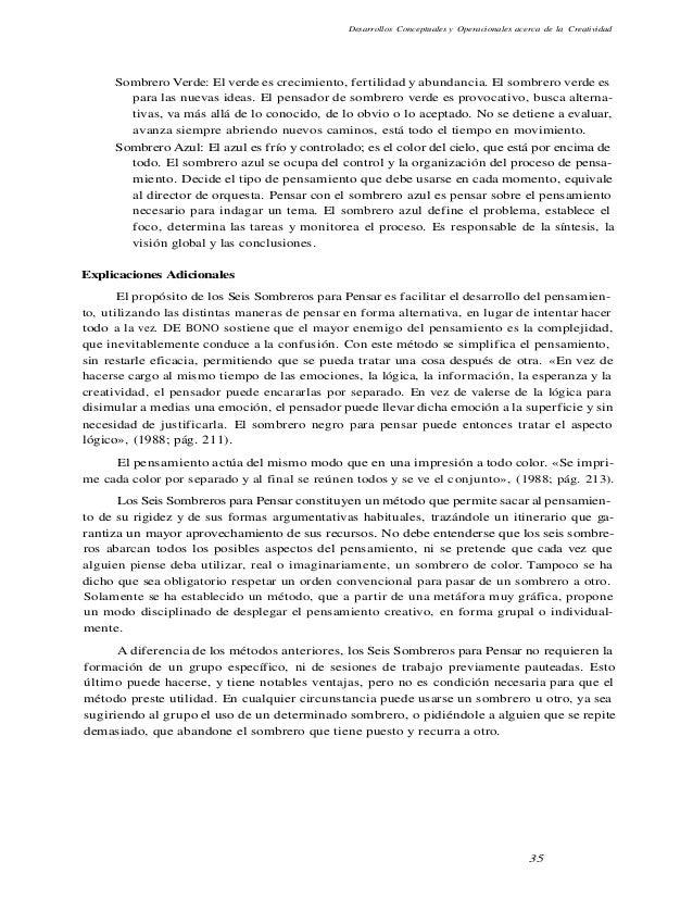 Desarrollos Conceptuales y Operacionales acerca de la Creatividad Sombrero Verde: El verde es crecimiento, fertilidad y ab...