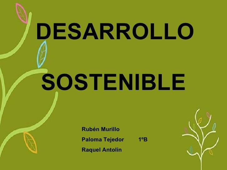 DESARROLLO   SOSTENIBLE   Rubén Murillo Paloma Tejedor  1ºB Raquel Antolín