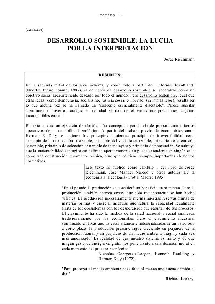 -página 1-   [desost.doc]                  DESARROLLO SOSTENIBLE: LA LUCHA                     POR LA INTERPRETACION      ...