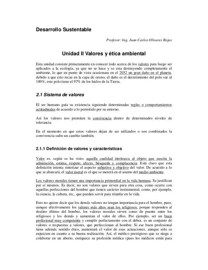 Desarrollo Sustentable                                             Profesor: Ing. Juan Carlos Olivares Rojas              ...
