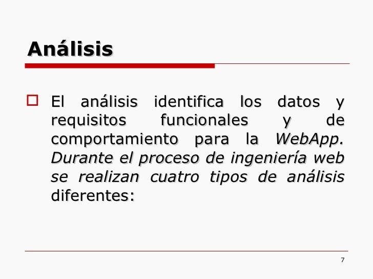<ul><li>El análisis identifica los datos y requisitos funcionales y de comportamiento para la  WebApp. Durante el proceso ...