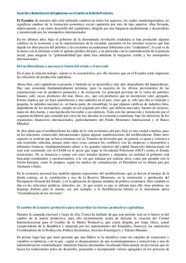 El Ecuador de nuestros días está sufriendo cambios en todos los aspectos, los cuales siendoimportantes, no significan camb...