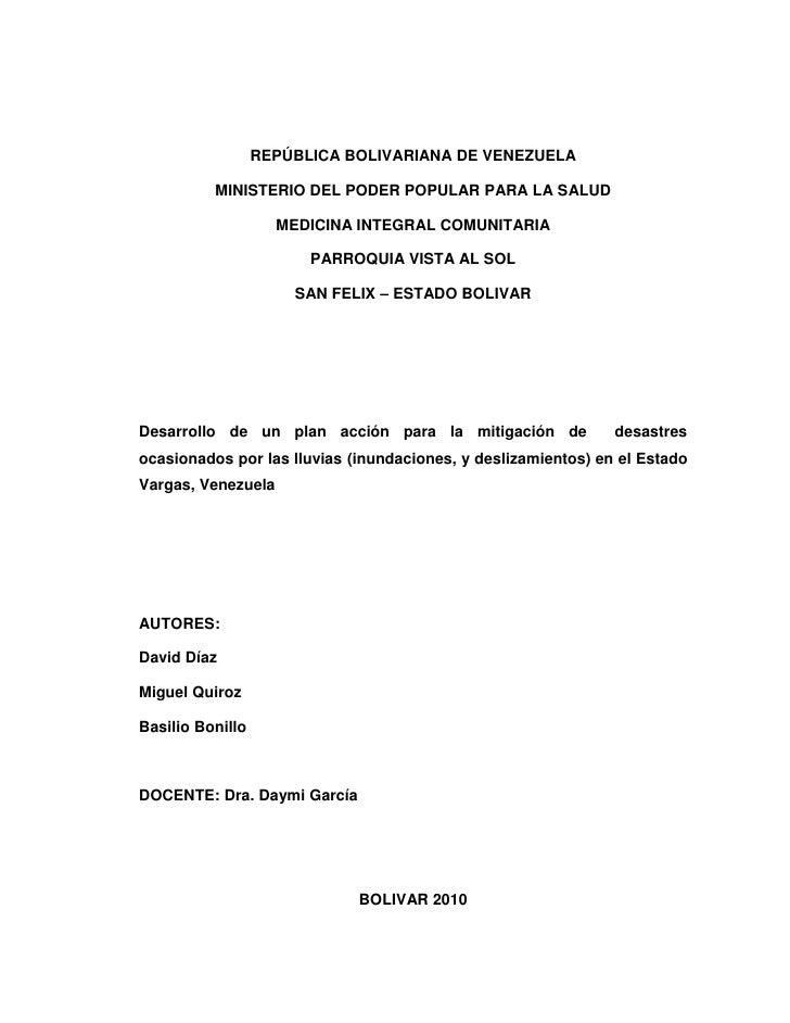 REPÚBLICA BOLIVARIANA DE VENEZUELA<br />MINISTERIO DEL PODER POPULAR PARA LA SALUD<br />MEDICINA INTEGRAL COMUNITARIA<br /...