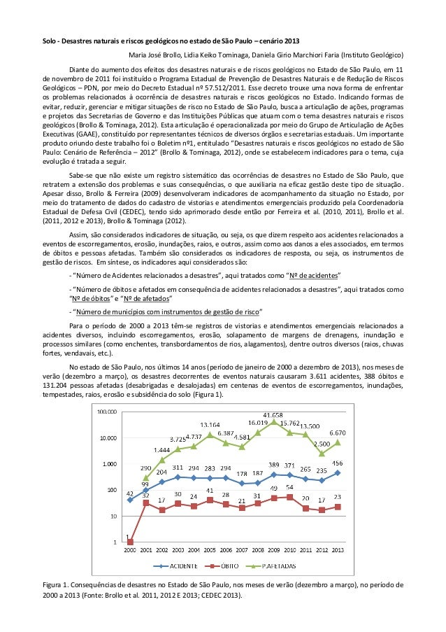 Solo - Desastres naturais e riscos geológicos no estado de São Paulo – cenário 2013 Maria José Brollo, Lidia Keiko Tominag...