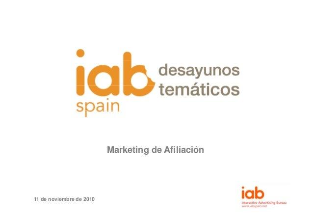 Marketing de Afiliación 11 de noviembre de 2010