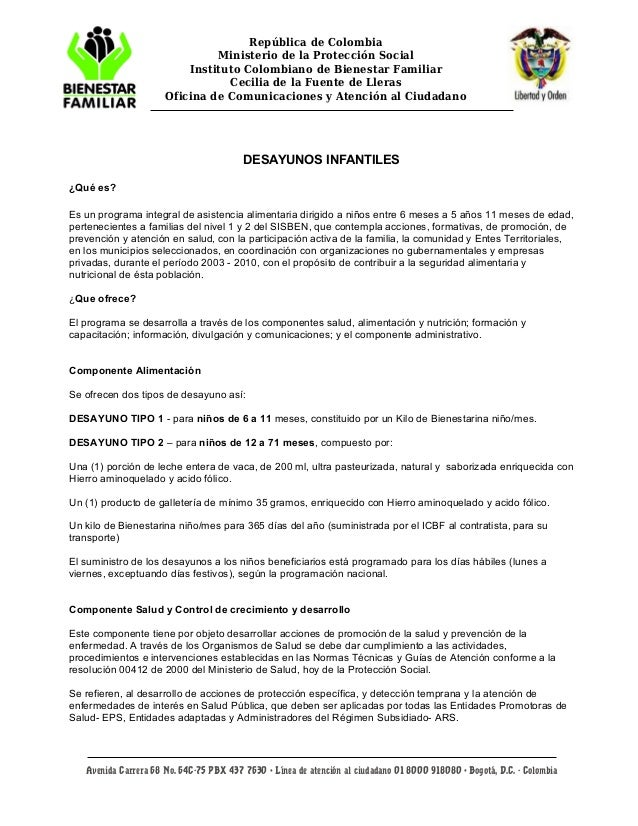 República de Colombia Ministerio de la Protección Social Instituto Colombiano de Bienestar Familiar Cecilia de la Fuente d...