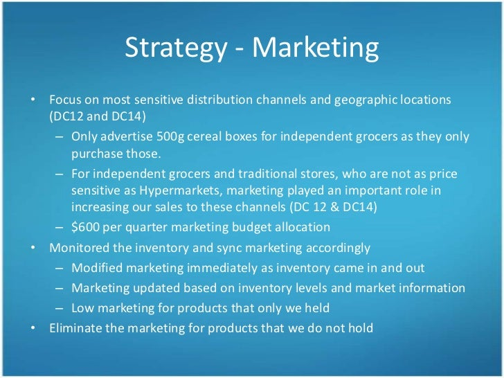 cereal marketing plan Kelloggs as a company is the leader when it concerns its cereals market here is the marketing mix of kelloggs which takes a closer look at the companythis.