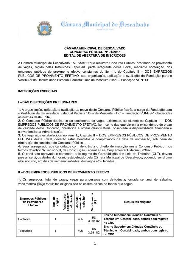 1 CÂMARA MUNICIPAL DE DESCALVADO CONCURSO PÚBLICO Nº 01/2015 EDITAL DE ABERTURA DE INSCRIÇÕES A Câmara Municipal de Descal...