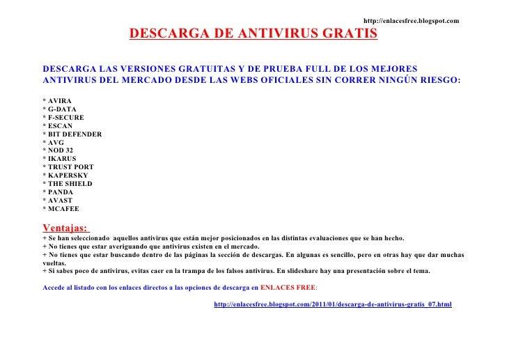 DESCARGA DE ANTIVIRUS GRATIS