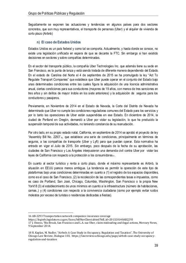 Informe sobre Economía Colaborativa Grupo de Políticas Públicas y Reg…