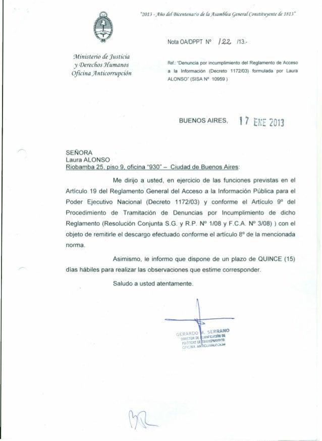 """""""2013 -)Iño deliñicentenario de fa)Isam6fea generar Constituyente de 1813""""Nota OA/DPPT N° /22, /13.-Ministerio de Justicia..."""