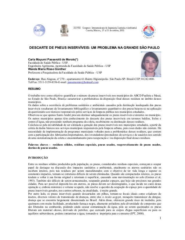 1 DESCARTE DE PNEUS INSERVÍVEIS: UM PROBLEMA NA GRANDE SÃO PAULO Carla Mayumi Passerotti de Morais(*) Faculdade de Saúde P...