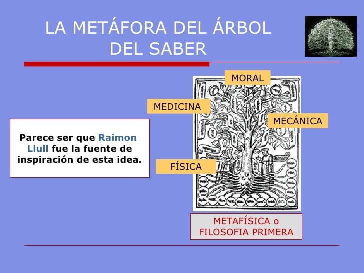 LA METÁFORA DEL ÁRBOL DEL SABER METAFÍSICA o FILOSOFIA PRIMERA FÍSICA MECÁNICA MEDICINA  MORAL Parece ser que  Raimon   Ll...