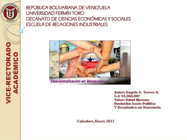 REPÚBLICA BOLIVARIANA DE VENEZUELA                 UNIVERSIDAD FERMÍN TORO                 DECANATO DE CIENCIAS ECONÓMICAS...