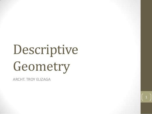 DescriptiveGeometryARCHT. TROY ELIZAGA                      1