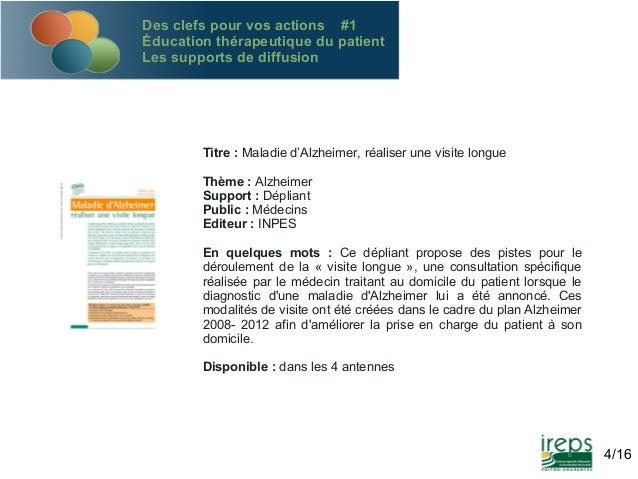Des clefs pour vos actions #1 Éducation thérapeutique du patient Les supports de diffusion  Titre : Maladie d'Alzheimer, r...
