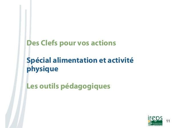 Nom de la présentation  11  0  Des Clefs pour vos actions  Spécial alimentation et activité  physique  Les outils pédagogi...