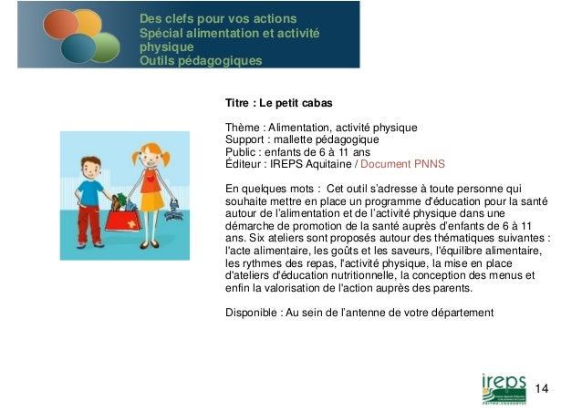 Titre : Le petit cabas  Thème : Alimentation, activité physique  Support : mallette pédagogique  Public : enfants de 6 à 1...