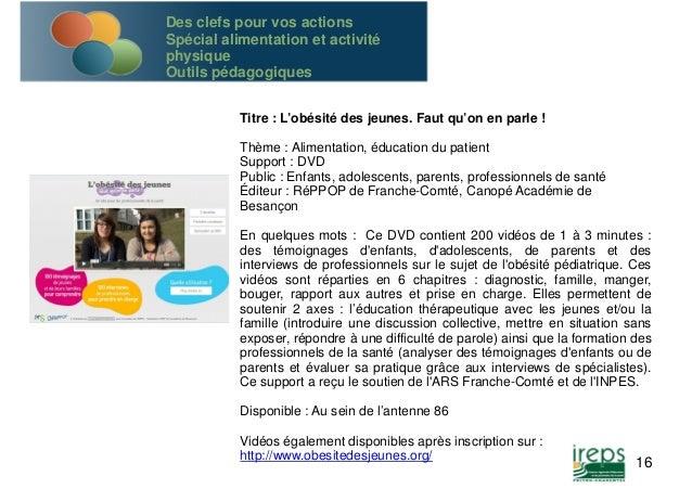 Titre : L'obésité des jeunes. Faut qu'on en parle !  Thème : Alimentation, éducation du patient  Support : DVD  Public : E...