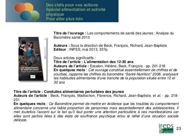 Titre de l'ouvrage : Les comportements de santé des jeunes : Analyse du  Baromètre santé 2010  Auteurs : Sous la direction...