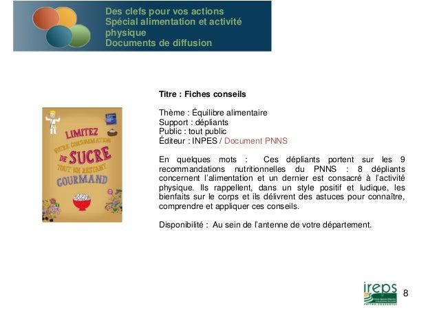 Titre : Fiches conseils  Thème : Équilibre alimentaire  Support : dépliants  Public : tout public  Éditeur : INPES / Docum...
