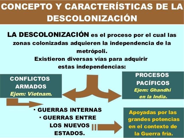 CONCEPTO Y CARACTERÍSTICAS DE LA DESCOLONIZACIÓN LA DESCOLONIZACIÓN es el proceso por el cual las zonas colonizadas adquie...