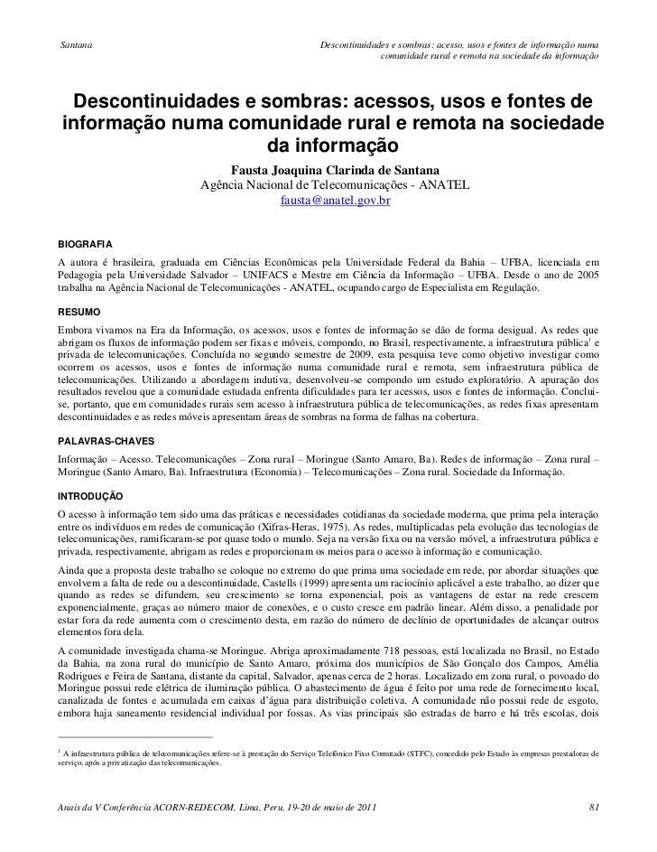 Santana                                                                      Descontinuidades e sombras: acesso, usos e fo...