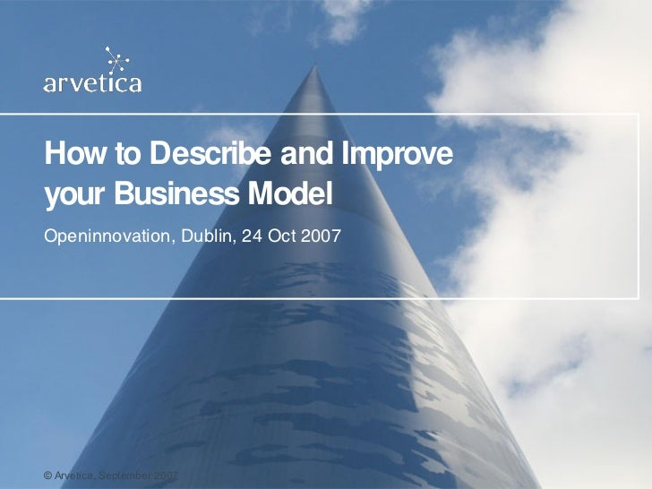 How to Describe and Improve your Business Model Openinnovation, Dublin, 24 Oct 2007 ©  Arvetica, September  2007