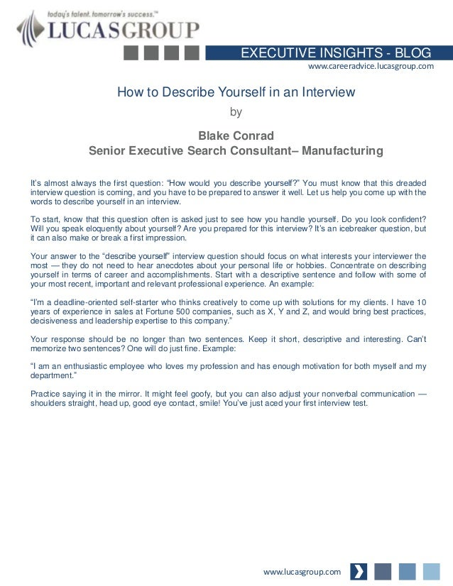 EXECUTIVE INSIGHTS   BLOG Www.careeradvice.lucasgroup.com How To Describe  Yourself In