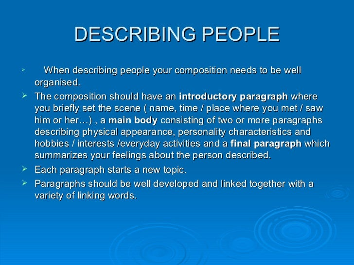 describing people describing people