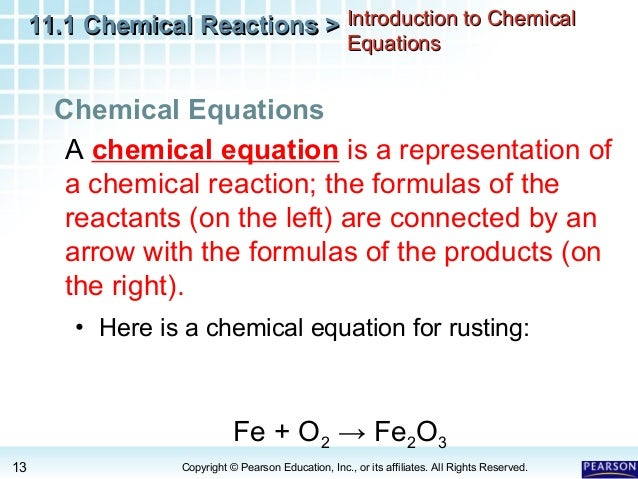 Worksheets All Chemistry Equations describing chemical reactions 13 11 1 chemical
