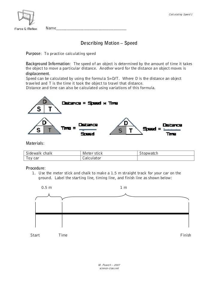 Calculating Speed 1             Name_________________________________                              Describing Motion – Spe...