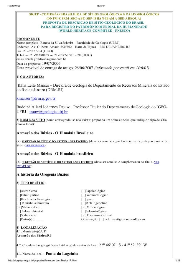 15/02/2016 SIGEP http://sigep.cprm.gov.br/propostas/Armacao_dos_Buzios_RJ.htm 1/13 SIGEPCOMISSÃOBRASILEIRADESÍTIOSG...