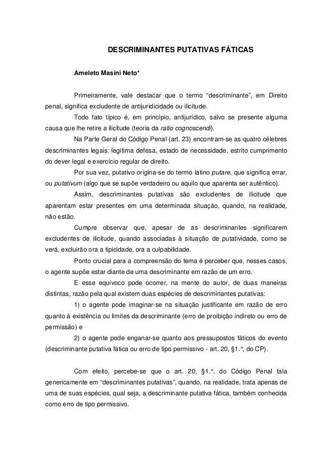 "DESCRIMINANTES PUTATIVAS FÁTICAS          Ameleto Masini Neto*          Primeiramente, vale destacar que o termo ""descrimi..."
