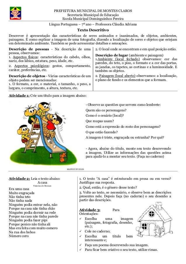 PREFEITURA MUNICIPAL DE MONTES CLAROS  Secretaria Municipal de Educação  Escola Municipal Dominguinhos Pereira  Língua Por...