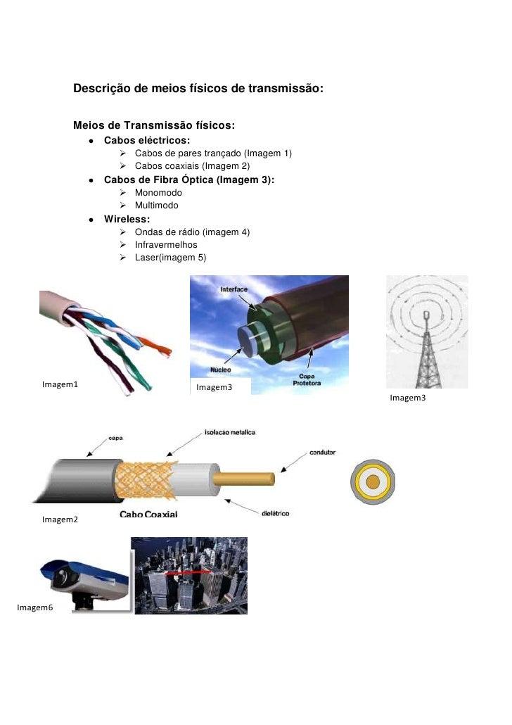 Descrição de meios físicos de transmissão:          Meios de Transmissão físicos:               Cabos eléctricos:         ...