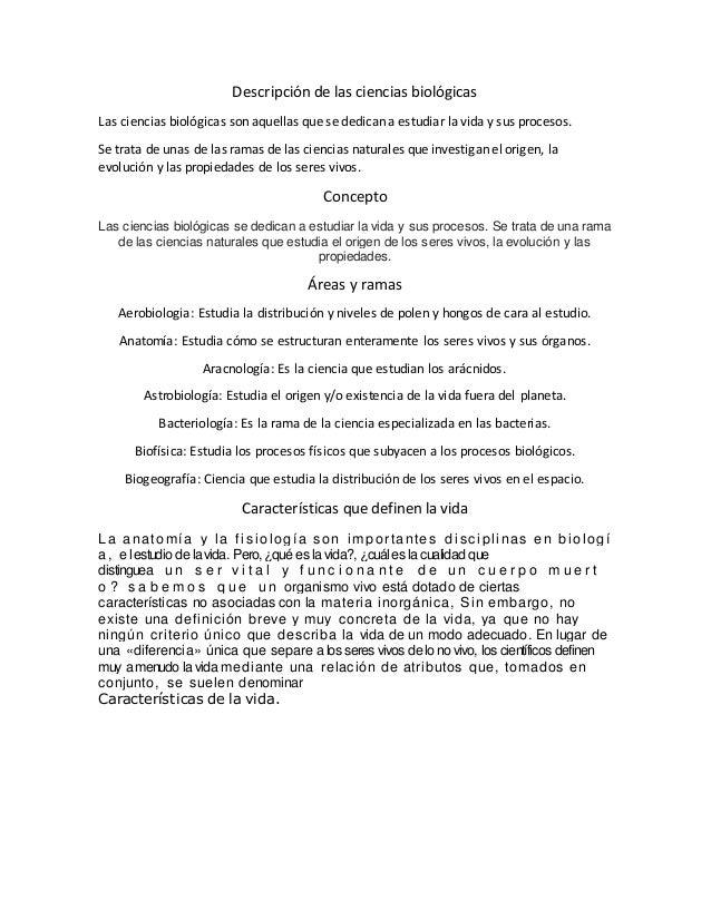 Descripción de las ciencias biológicas