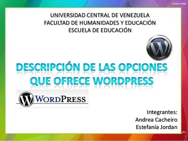 UNIVERSIDAD CENTRAL DE VENEZUELAFACULTAD DE HUMANIDADES Y EDUCACIÓN        ESCUELA DE EDUCACIÓN                           ...